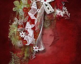 EXQUISITE LACE , Digital scrapbook kit , wedding scrapbook  47 Lace pieces ,flat lace,curled,lace bows ,Engagement scrapbook