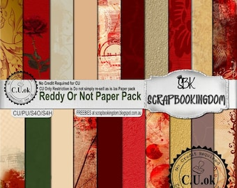 CU Digital Scrapbook Kit Papers Masculine or feminine scrapbooks - Reddy or Not Paper pack fro Commercial Use