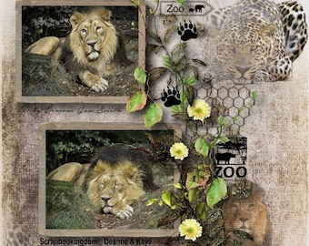 Digital Scrapbook Kit -ZOO EXPEDITION- Elephant, Lion, Tiger, Zebra Camel  zoo animal embellishments ,fences, foliage and zoo theme papers,