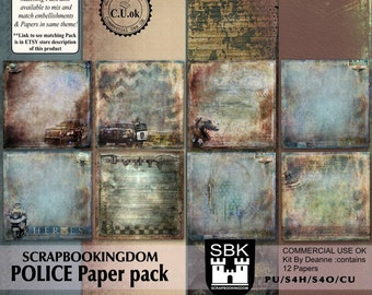 POLICE scrapbook paper pack . 12 Digital scrapbooking papers law enforcement theme - Matching embellishments  pack is available in store