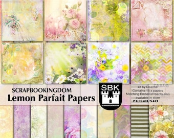 Scrapbook kit Papers - digital scrapbooking LEMON PARFAIT Beautiful flowers, 18 papers -matching scrapbook Embellishments kit also in store