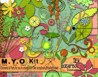 M.Y.O.  embellishments : many separate elements, shapes & Pieces for you to Make your own flowers , stems, leave, petal shapes, stamens
