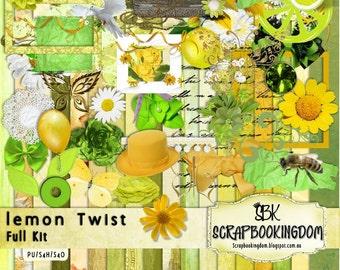 Digital scrapbooking Kit Lemon Twist - flowers, leaves lemons ON SPECIAL Sale price
