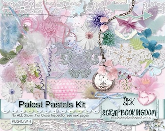 Digital Scrapbook KIT feminine 26 Papers ,56 scrapbooking embellishments PALEST PASTEL