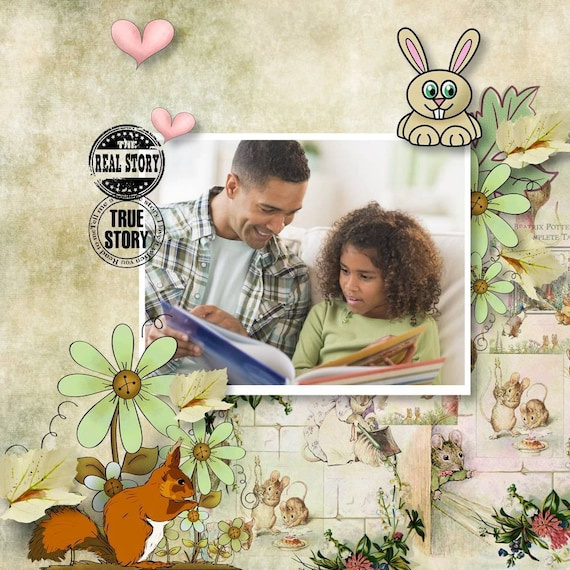 Childrens Stories Scrapbook Kit Popular Storybook Clipart Etsy