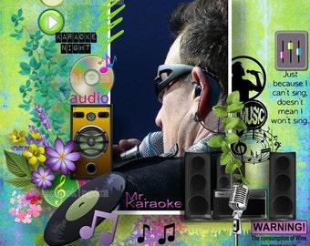 Karaoke  Scrapbook kit: singing, sound equipment . 21 digital scrapbook Papers & 119 embellishments