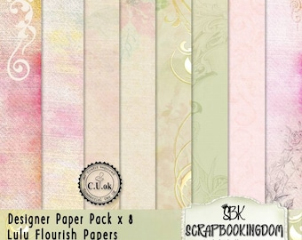 CU Scrapbooking Papers : LULU  8 x Paper Pack for designers , commercial use ok