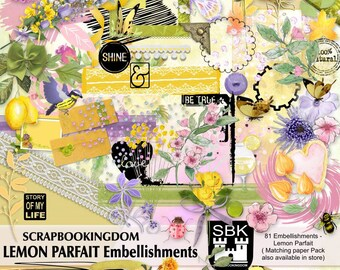 Scrapbook kit of Embellishments - LEMON PARFAIT , matching digital Papers also in store , women's or girls scrapbook feminine theme