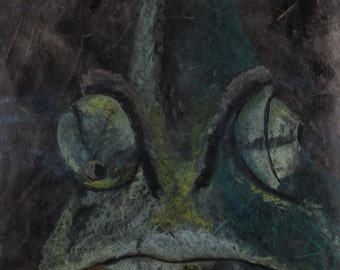 Lizard pastel (chalk) painting.