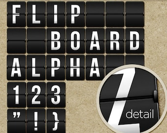 Digital Flip Board Alphabet (Latin Alpha) - Digital Scrapbook Alpha - Travel Clip Art Letters