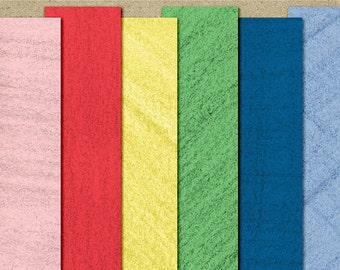 Crayon Digital Scrapbook Paper - Textured Paper Pack -  in pink, blue, yellow, green, indigo, and blue