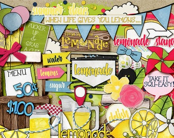 Lemonade Stand Hand Drawn Digital Scrapbook Kit ELEMENTS and WORD ART - Summer Digital Clip Art: pinwheel, citrus, balloon, cloud, flowers