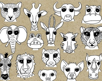 Digital Animal Stamp Doodles: African Safari Collection