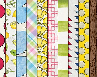 "Lemonade Digital Patterned PAPERS- ""Fresh Squeezed"": Hand Painted Summer Backgrounds in yellow, pink, blue, green- Instant Digital Download"