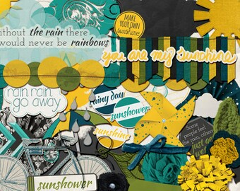 "Spring Digital Scrapbook Kit: ""Sunshower"" - April Showers / rainy day digital scrapbooking ELEMENTS in green, blue, and yellow"