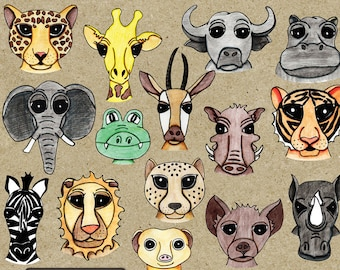 Safari Clip Art - Hand Drawn African Animal Illustrations for Digital Scrapbooking - Doodle Animal Clipart - Watercolor Pencil Illustration