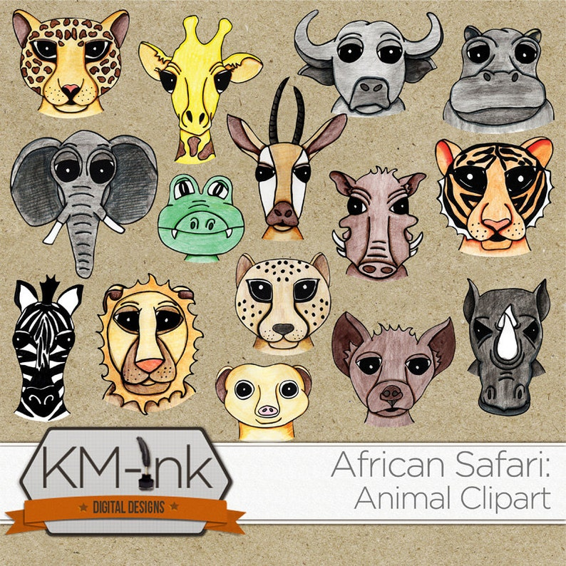 Safari Clip Art  Hand Drawn African Animal Illustrations for image 0