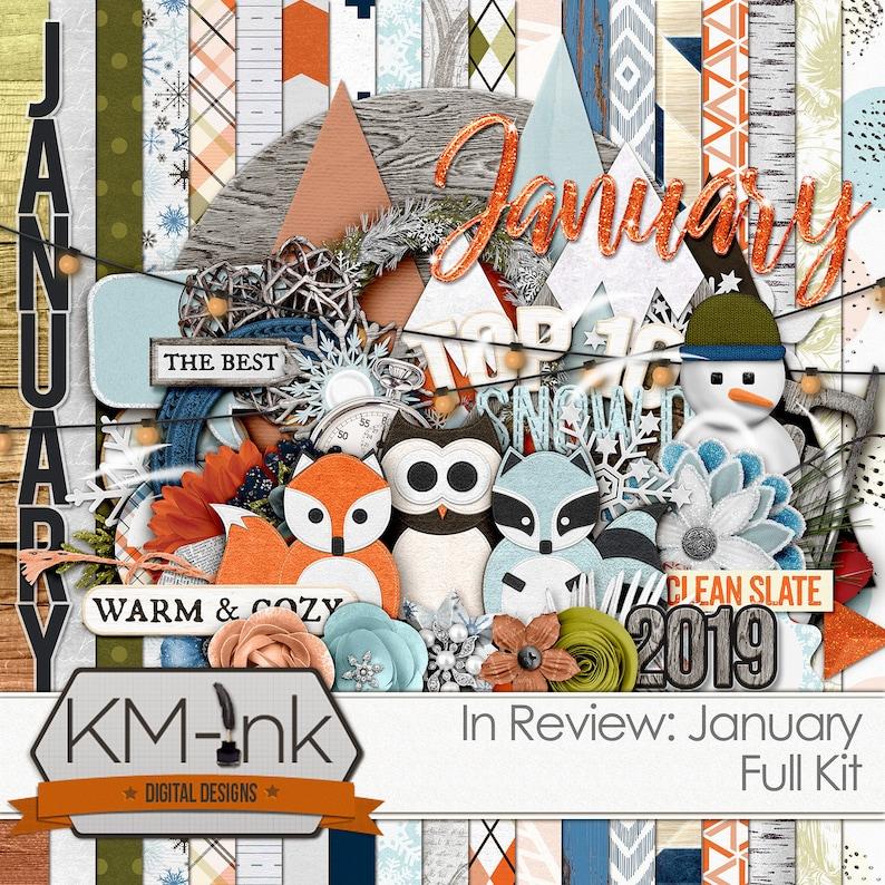 January Monthly Kit: Digital Scrapbook Papers scrapbook image 0