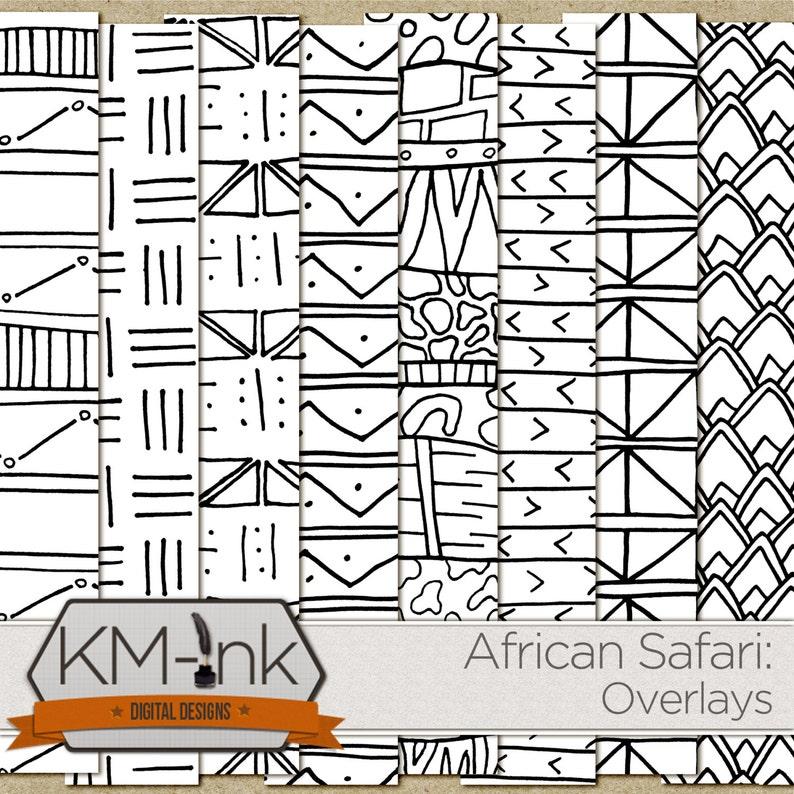 Tribal Digital Paper  African Safari PNG Overlays  doodle image 0