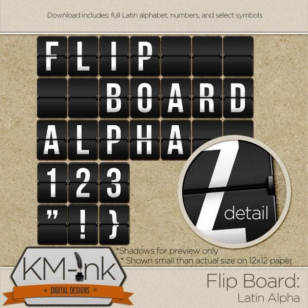 Digital Flip Board Alphabet Latin Alpha Digital Scrapbook