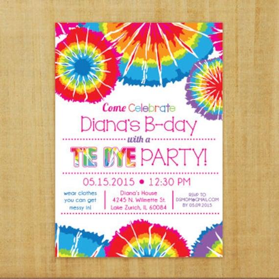 tie dye invitation printable etsy