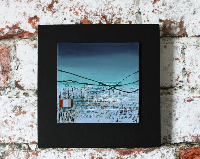 Featured listing image: Mini painting on glass, 'Cyan Sky' mounted on 15 x 15cm painted wooden block