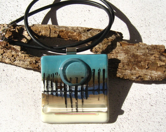 Featured listing image: Abstract, Fused glass Square pendant necklace in a Blue Vanilla palette with texture design