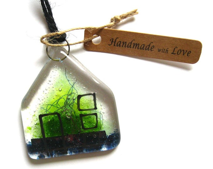 Featured listing image: Fused glass, 'House' hanging glass sun catcher in green colourway