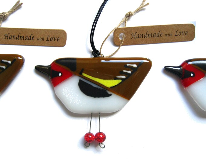 Featured listing image: Goldfinch, fused glass garden bird hanging decoration