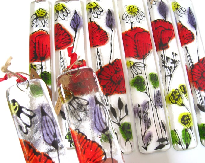 Featured listing image: Fused glass sun catcher, Summer blooms of red glass flowers