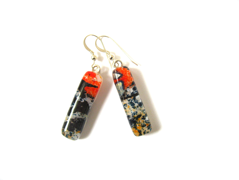 Fused Glass and Sterling Silver Jewelry Glass Art Jewelry Orange Swirls Fused Glass Dangle Earrings