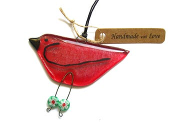 Red glass bird ornament, fused glass bird hanging decoration,Red bird, New Years, Christmas red,friend, Valentines gift,BD125 suncatcher