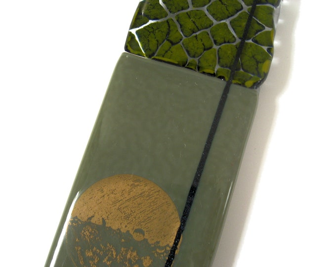 Featured listing image: Moss green 'Crackle' Fused Glass Wall Panel with real gold moon decoration 24 x 6 cm. Wall fixings included