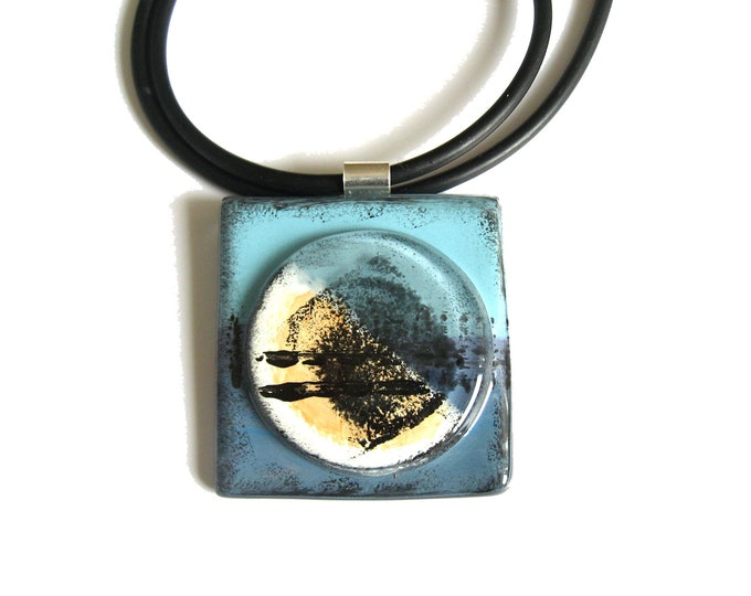 Featured listing image: Abstract, Circular, Fused glass pendant necklace in a Blue palette with texture design