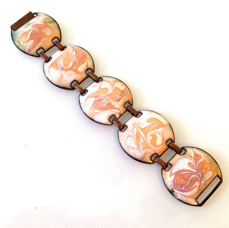 Fab Vintage Mid Century Enamel on Copper Bracelet Abstract Psychedelic Art