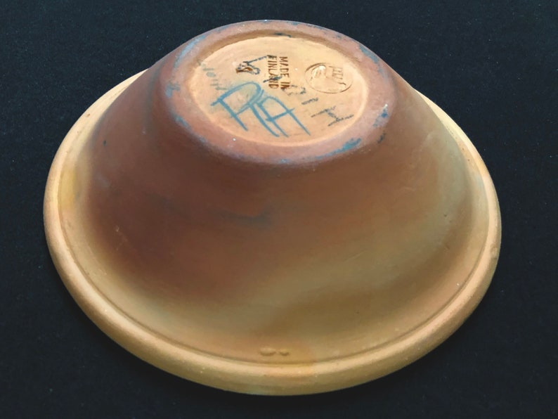 Kera Oy Hand Painted Red Ware Bowl Mid Century Modern Finland Pottery