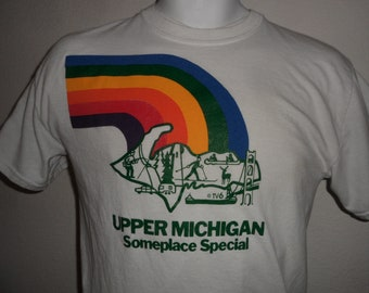 Vintage Original 1980s UPPER MICHIGAN SomePlace Special Rainbow TV6 Soft USA T Shirt Men's M