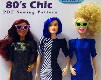 "80's CHIC Sheath Dress and Shades Doll Clothes Sewing Pattern for 11.5"" Fashion Dolls such as Original Barbie - Instant PDF Download"