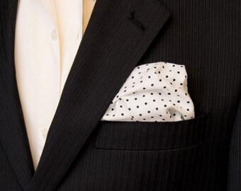 White pocket square. Polka dot pocket square. Black and white pocket square. White handkerchief. Black and white polka dot pocket square.