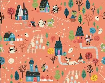 Tiny Treaters Main Orange Fabric by Jill Howarth for Riley Blake