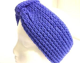 Winter headgear, turban headband, crochet earwarmer, soft headwrap, blue headwear, ear warmer, head band, head wrap, Boho knit hairband