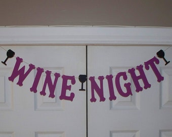 WINE NIGHT Letter Banner - Purple and Black Wine Glass Letter Garland - Cardstock - Wall Decor - Girls Night Party Decoration