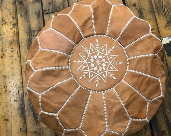 BEAUTIFUL LEATHER OTTMAN pouf from Marrackech 100% leather