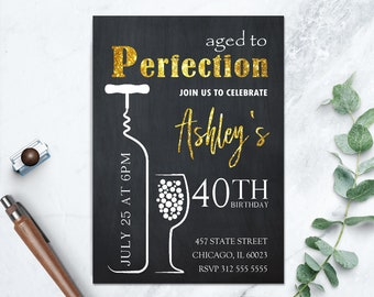 aged to perfection wine printable invitation dinner etsy