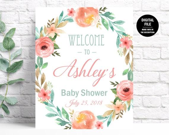 Woodland Baby Shower Decorations Printable Door Welcome Sign
