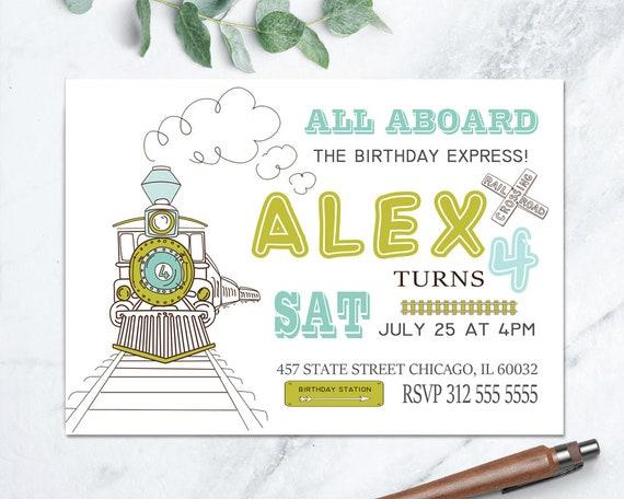 Vintage Train Invitation Birthday Invite Printable