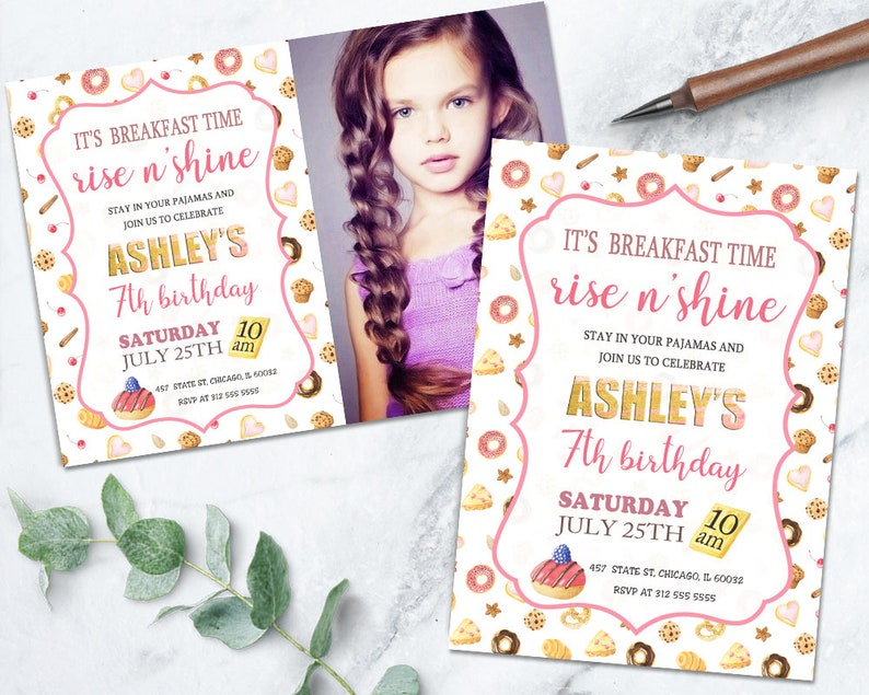 Breakfast Birthday Invitation Girl Sleepover Printable