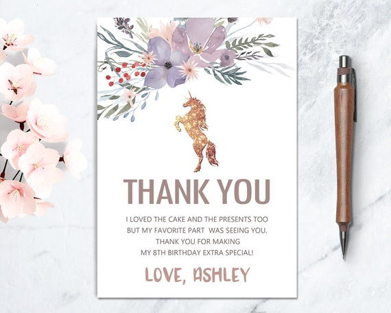 Unicorn Birthday Thank You Card Printable Floral Party DIY Glitter
