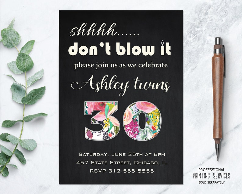 Floral Surprise Birthday Invitation Printable For Woman