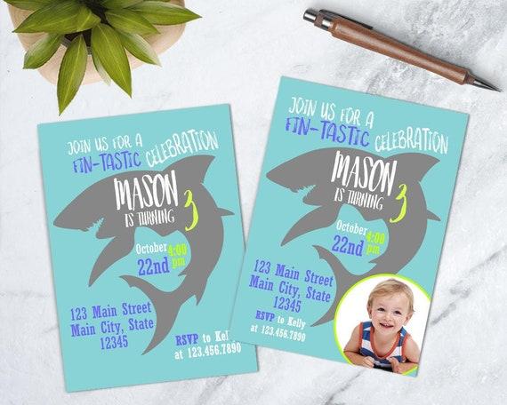 Shark Birthday Invite Party Fish Invitation Under